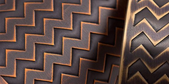 Detail of ZigZag Cuffs - Antique Copper (left) and Antique Brass (right).